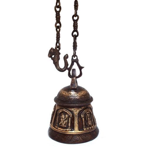 BRASS TEMPLE BELL WITH BALAJI AND HANUMAN