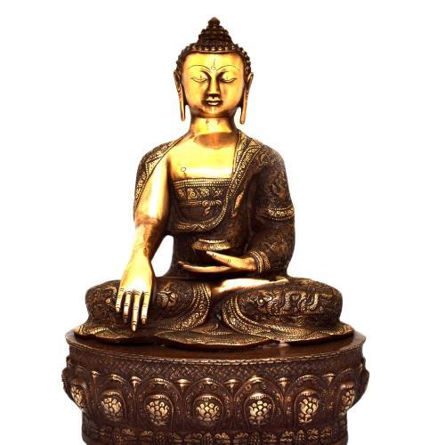 BRASS BUDDHA SITTING ON BASE ANTIQUE