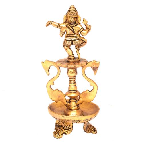 BRASS 3 LEG OIL LAMP WITH DANCING GANESHA AND 2 SWAN