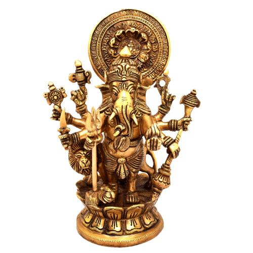 BRASS 8 HAND GANESHA STANDING WITH LION LOTUS BASE