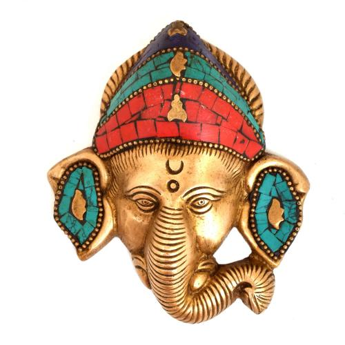 BRASS WALL HANGING GANESHA FACE WITH STONE WORK