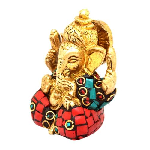 BRASS GANESHA 4 HAND SITTING WITH STONE WORK
