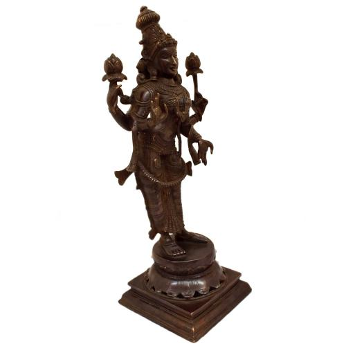 BRASS LAKSHMI STANDING ON BASE ANTIQUE