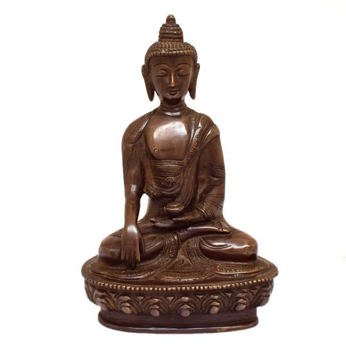 BRASS BLESSING BUDDHA SITTING ON BASE
