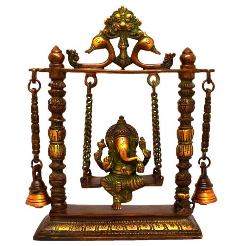 BRASS JHULA GANESHA WITH BELL