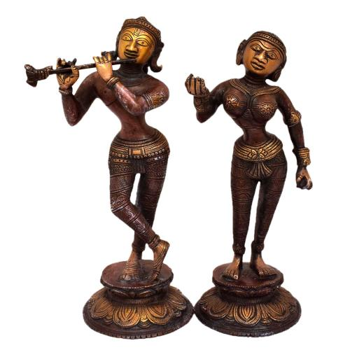 BRASS RADHA KRISHNA STANDING SET OF 2 PCS