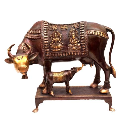 BRASS COW AND CALF WITH GANESHA LAKSHMI