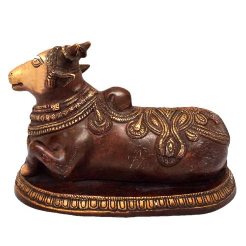 BRASS NANDHI SITTING WITH BASE