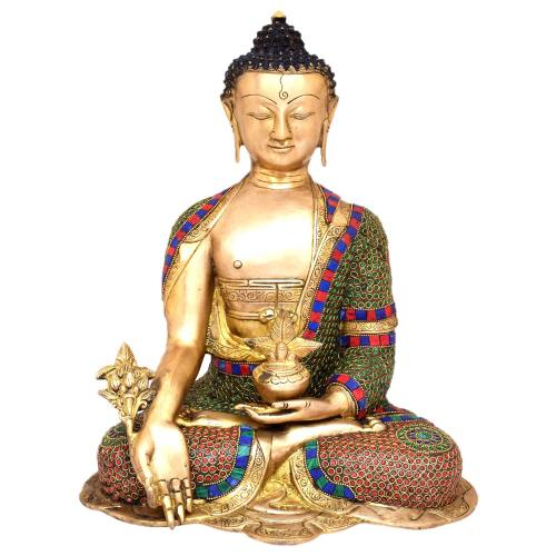BRASS MEDICINE BUDDHA SITTING STONE WORK