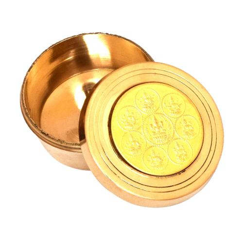 BRASS COIN KUMKUM BOX