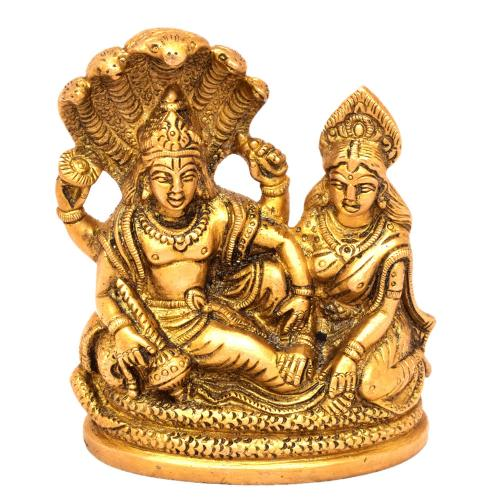 BRASS VISHNU LAKSHMI SLEEPING ON SNAKE