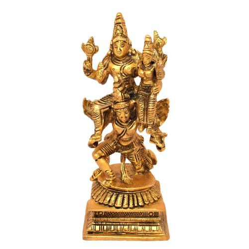 BRASS VISHNU LAKSHMI SITTING ON GARUDA