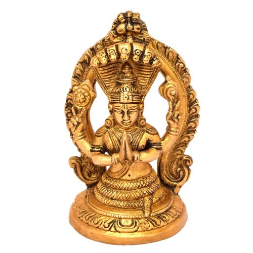 BRASS VISHNU SITTING ON SNAKE WITH PRABHAVALI