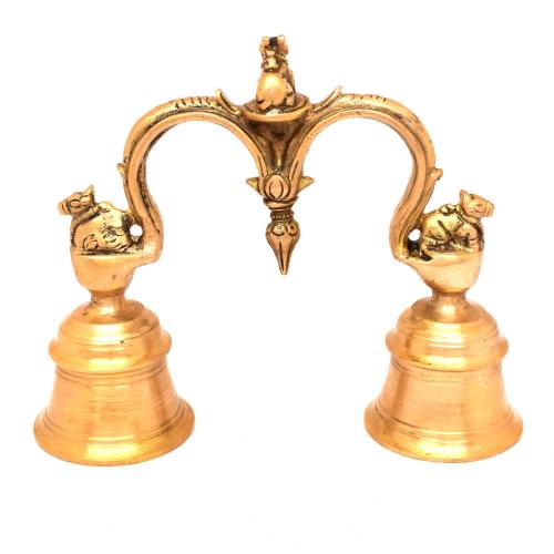 BRASS HAND BELL WITH NANDHI