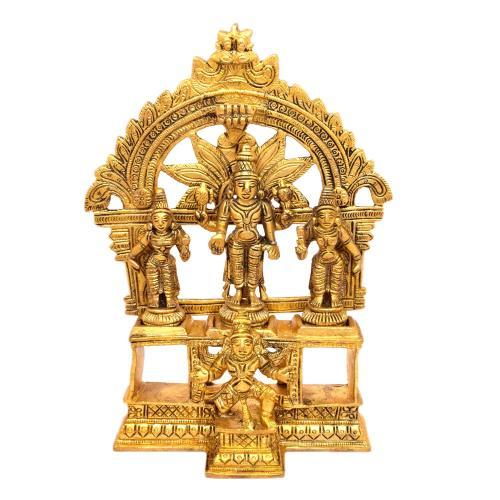 BRASS VISHNU STANDING WITH SRIDEVI BHUDEVI ON BASE