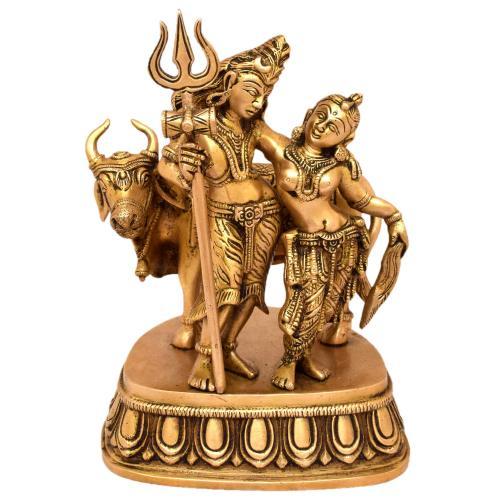 BRASS SHIVA PARVATHI STANDING WITH NANDHI