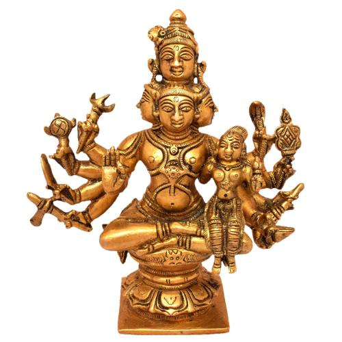 BRASS 5 FACE SHIVA PARVATHI SITTING WITH 10 HANDS