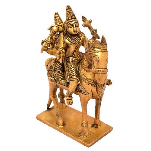 BRASS SHIVA PARVATHI  SITTING ON HORSE
