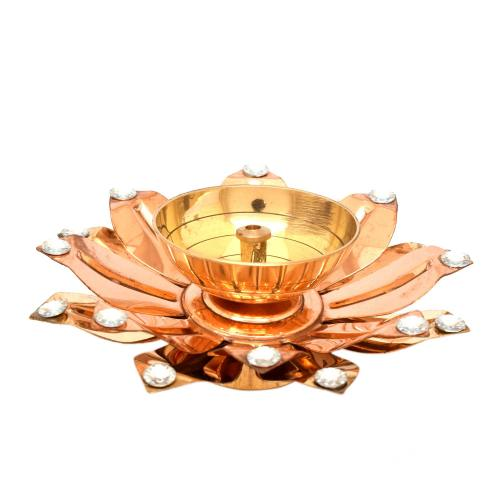 BRASS/COPPER DIYA WITH STONE