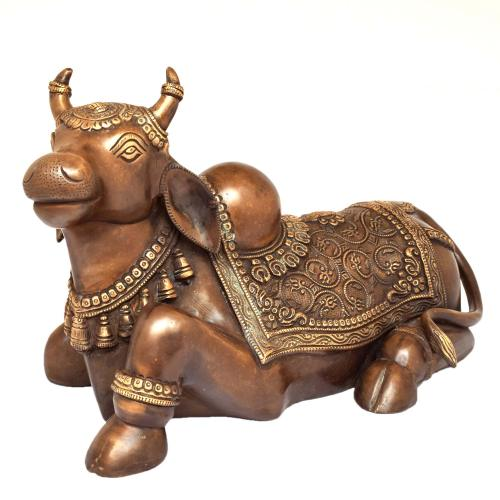 BRASS NANDHI SITTING WITH CARVING