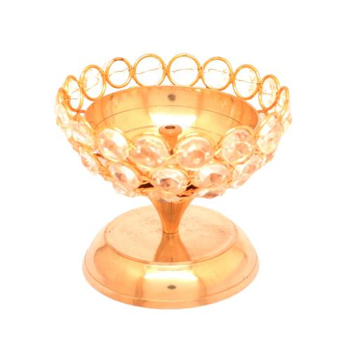 BRASS DIYA WITH STONE