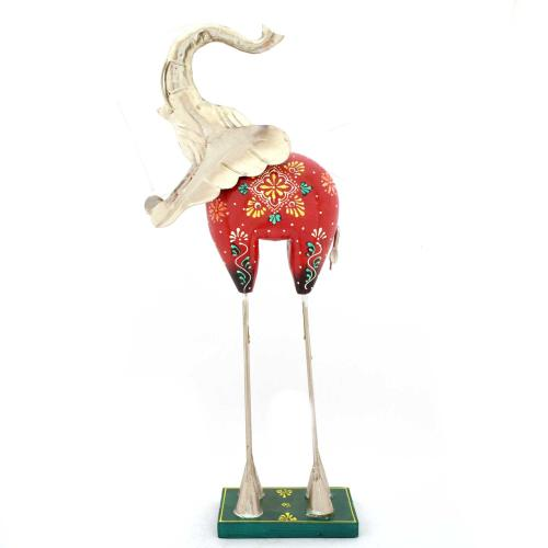 WOODEN PAINTED METAL FITTED ELEPHANT STANDING
