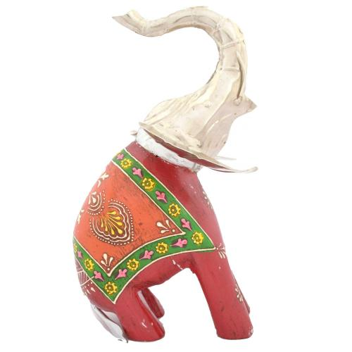 WOODEN PAINTED METAL FITTING ELEPHANT