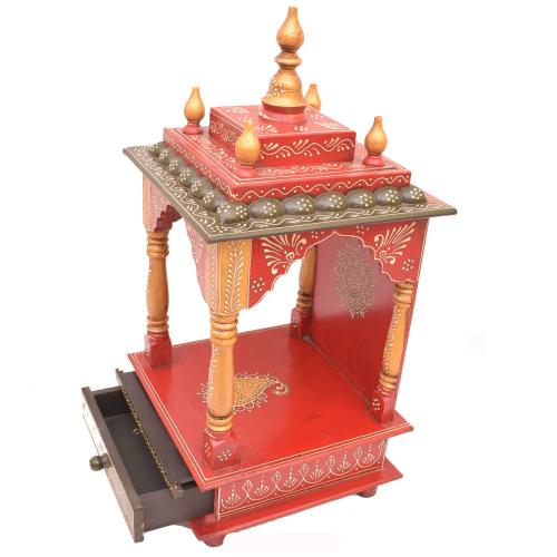 WOODEN PAINTED WALL HANGING MANDIR WITH DRAWER