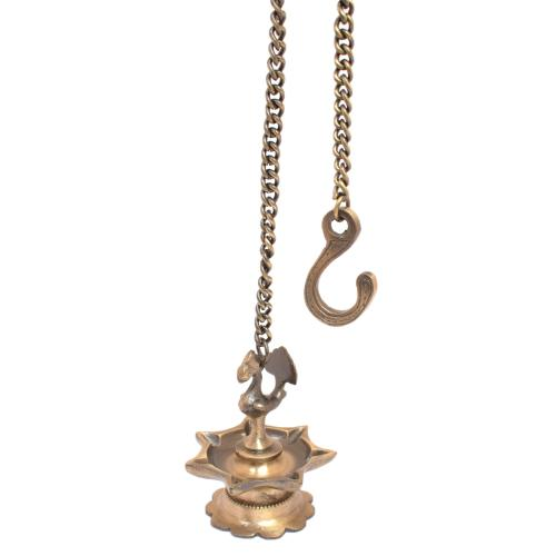 BRASS PEACOCK HANGING DIYA WITH CHAIN