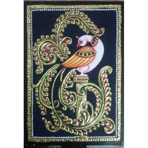TANJORE PAINTING PEACOCK WITH PILLAR