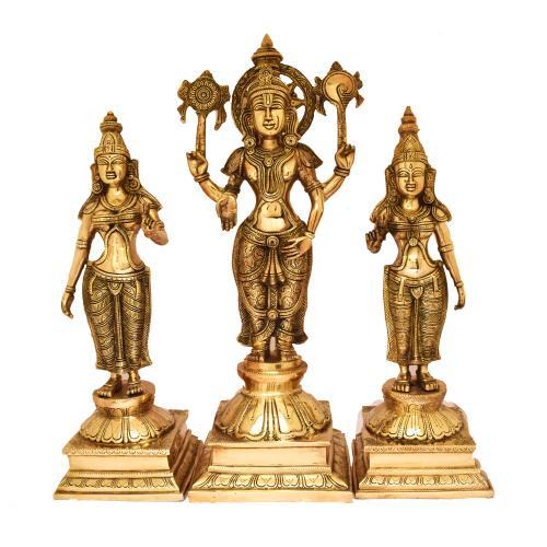 BRASS VISHNU STANDING WITH SRIDEVI BHUDEVI
