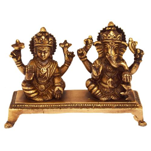 BRASS AGNESHA LAKSHMI SITTING ON CHOWKI