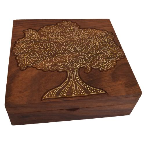 WOODEN CARVING INLAY BOX