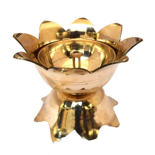 BRASS LOTUS DIYA WITH STAND