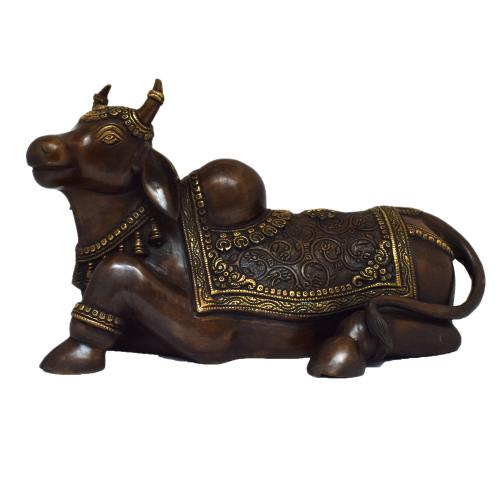 BRASS NANDHI SITTING CARVING WITHOUT BASE