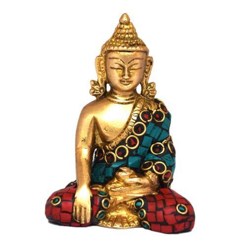 BRASS MEDITATION BUDDHA SITTING STONE WORK
