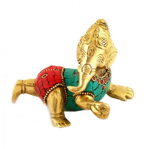 BRASS BABY GANESHA SLEEPING WITH STONE WORK