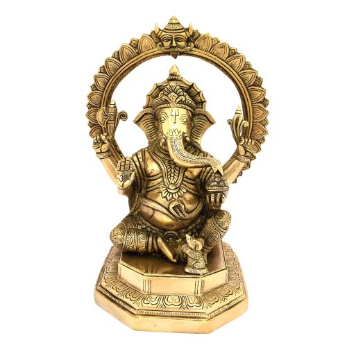 BRASS GANESHA SITTING WITH ARCH