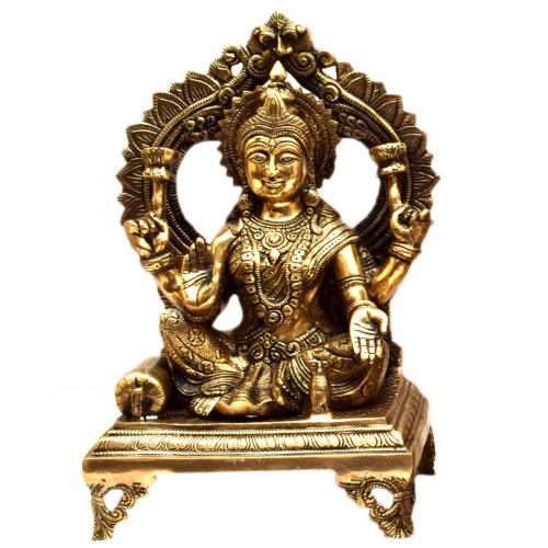 BRASS LAKSHMI SITTING WITH ARCH