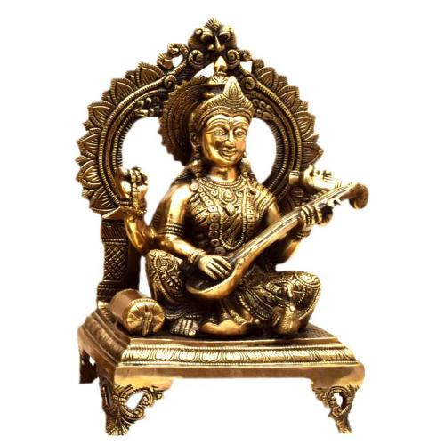 BRASS SARASWATHI SITTING WITH ARCH