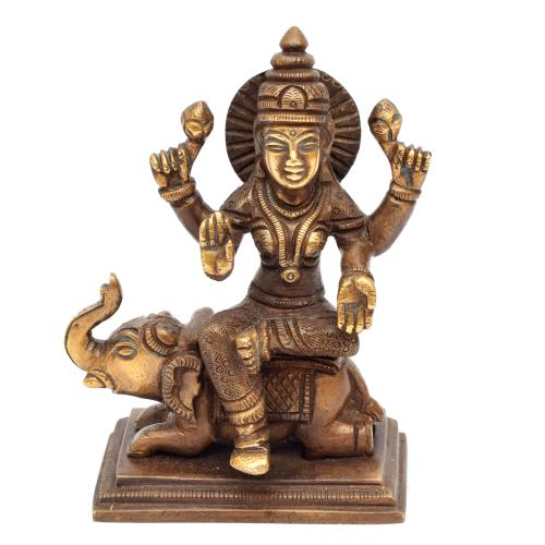 BRASS LAKSHMI SITTING ON ELEPHANT ON BASE