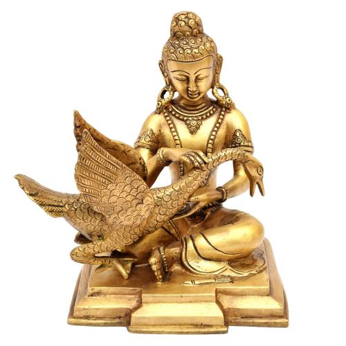 BRASS BUDDHA SITTING WITH SWAN ON BASE
