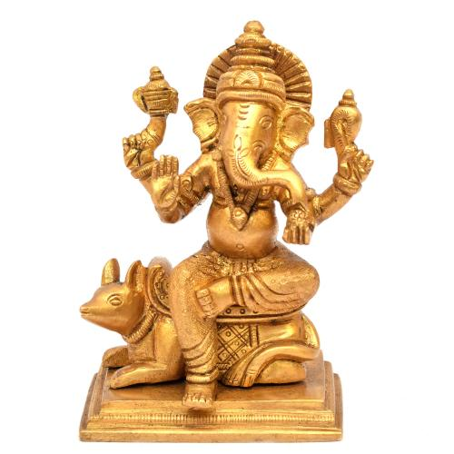 BRASS GANESHA SITTING WITH MOUSE