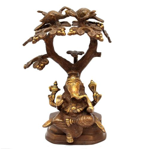 BRASS GANESHA SITTING UNDER TREE