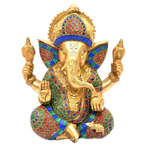 BRASS GANESHA SITTING STONE WORK