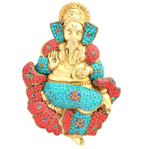 BRASS WALL HANGING GANESHA WITH STONE WORK