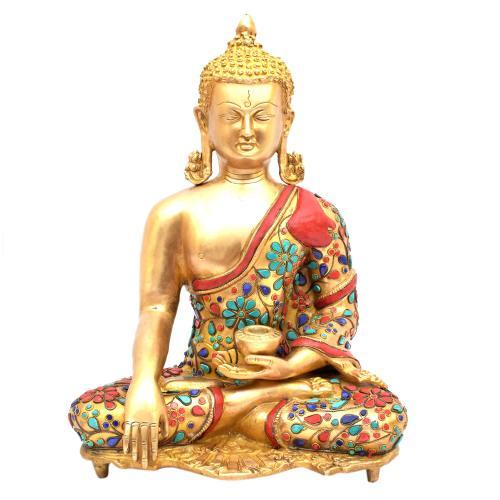 BRASS MEDITATION BUDDHA WITHOUT BASE STONE WORK