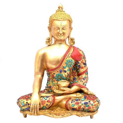 BRASS MEDITATION BUDDHA WITHOUT BASE STONE WORK