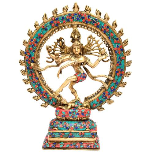 BRASS DANCING NATRAJ WITH STONE WORK