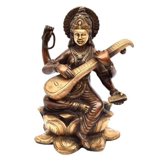 BRASS SARASWATHI SITTING ON LOTUS